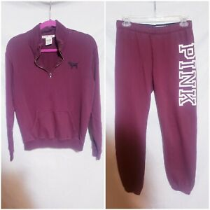 Victoria secret pink Purple Sweatsuit Set No Hood Half Zip Pullover Top Size XS