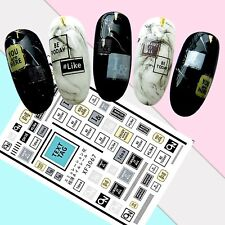 Nail Art Stickers Transfers 3D Self Adhesive Text SMS Tags (XF3067)
