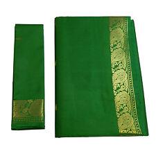 Sari indiano verde broccato oro abito tradizionale Bindi donna poliestere