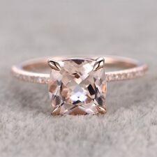 Cushion Cut 8mm Morganite 14K Rose Gold Engagement Diamond Wedding Ring Band