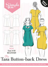 Womens ADVENTUROUS BEGINNER Tara Button-back Dress UK SIZE 6-20 Sewing Pattern