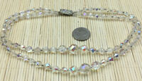 Vintage Necklace Czech Glass Faceted Crystal Aurora Borealis 2 Strand Graduated