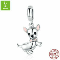 925 Silver Beads Charms Little Chihuahua Pendant Fit Bracelet Chain S925 Jewelry