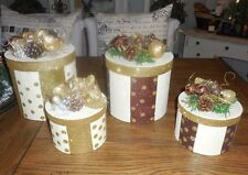 4pc Christmas Present GIft Display Presentation Box Set Gold Maroon w/ Pine Cone