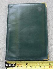 Rolex Leather Hands Wilsdorf 100 Year Coin Green Leather Holder Notepad Folder