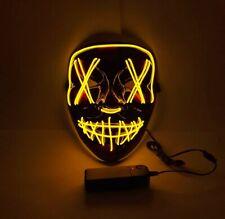 Yellow LED Face Mask Halloween Scary Movie Cross Eye Light Up Halloween Mask