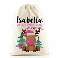 Christmas Santa Sack Gift Bag | Pink Rudolph | Personalised