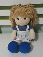 TINKERS DOLL BLUE WITH WHITE APRON WOOL HAIR 30CM