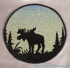 Embroidered Sunrise Bull Moose Silhouette Ombre Circle Patch Iron On Sew On USA