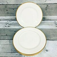 """4 Piece Set Depose Martin Limoges France Luncheon Plates 7.5"""" Gold Band"""