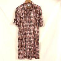 J Jill Women's Button Front Black Red White Geometric Print Shirt Dress Size 8 P