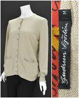 Womens Gudrun Sjoden Linen & Cotton Loose Fit Cardigan Jumper Beige Size M
