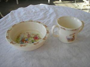 Vintage Royal Doulton Bunnykins Cereal Bowl And Two Handle Soup Mug Set