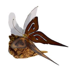 Vintage Metal Art Butterfly On Burl Wood Base