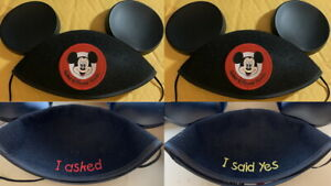 """2 Disney Collection Mickey Mouse Club Ear Hat """"I Asked"""" & """"I Said Yes"""" Adult NEW"""
