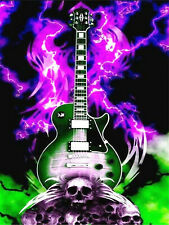 Full Drill 5D Diamond Painting Lightning Guitar Skull Embroidery Art Decor N8716