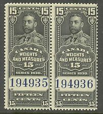 Canada #FWM62, 1930 15c King George V - Weights/Measures Revenue, HP Unused NH