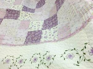 NEW COZY COUNTRY CHIC PURPLE LILAC LAVENDER WHITE BLUE GREEN PATCHWORK QUILT SET