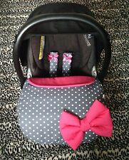 GREY WHITE SPOTS CERISE PINK PADDED BOW car seat apron foot muff harness covers