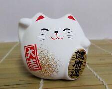 Japanese Maneki Neko Ceramic Fatty Lucky Cat Figurine White Good Health