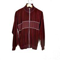 Tundra Mens Vintage Plush Velour Full Zip 80's Track Jacket Burgundy Red