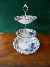 3 TIERED CAKE STAND  DECORATED WITH PLUMS AND FLOWERS -