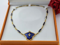 FABERGE Victor Mayer Gold 750 Collier Brillant diamond enamel necklace 1 of 12