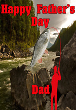 Chub Fish Angler nfd6 Happy Father's Day card A5 Personalised Greetings