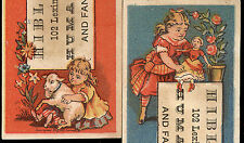 1878 HIBLINE'S HUMAN HAIR, 2 TRADE CARDS, BALTIMORE MD, 102 LEXINGTON ST. TTC305