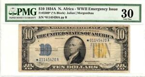 Fr. 2309* $10 1934A North Africa Silver Certificate. PMG Very Fine 30- GORGEOUS!