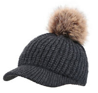 Women Cable Knit Winter Warm Beanie Hat Pom Pom and Brim Shade