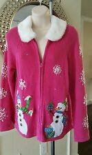 Tiara International Ugly Christmas Sweater Size S Small Pink Snowman Snow Fur