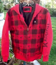 Hurley - Red and Black, Full Zip, Thick Fleece Lined Hoodie. Boys XL, 18-20