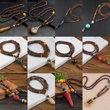Necklace Chain Jewelry Retro Pendant Long Sweater Elegant Women's Wooden Beads