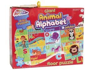 Grafix: Giant Animal Alphabet Kids Floor Puzzle 88 x 58.5cm- 30 Pieces - 3+ Yrs