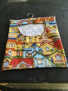 Hand Made Laundry Peg Bag With Wooden Hanger Colourful Houses Linen Fabric