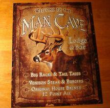MAN CAVE LODGE & BAR Deer Buck Rack Hunting Hunter Cabin Home Decor Sign - NEW