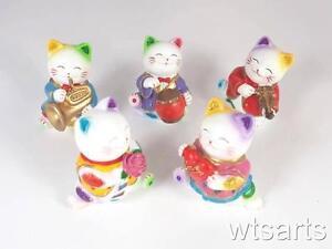 "3"" Small Resin Maneki Neko Cat - different designs. Cute Lucky Fortune Cat"