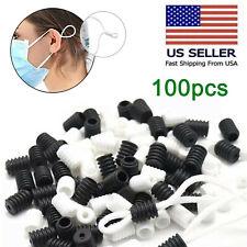 100pcs Silicone Cord Locks Toggles Ear Loop Adjuster Buckle Elastic Stopper