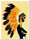 "Native Indian Girl War Bonnet Abstract Street Art Canvas Print 10X8"" Gold"