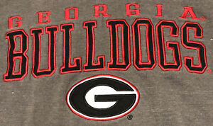 Georgia Bulldogs Gray Hoodie XL Blue 84 SEC on Sleeve Pullover Sweatshirt