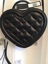 MARC JACOBS BLACK QUILTED FRONT  HEART FRONT CROSSBODY BAG NEW TAGS $458.00 HTF