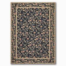6' x 9' Costikyan Hand Woven Botanical Wool French Needlepoint Area rug Black