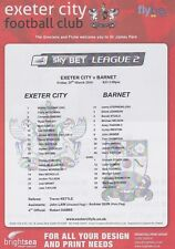 Exeter v Barnet 2016 Teamsheet 2015/16