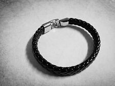 "Braided Leather Bracelet 8"" Black Leather Cuff REAL LEATHER"