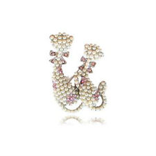 LOVELY BRAND NEW SILVER PLATED TWO PUSSY CAT PEARL & PINK CUBIC ZIRCONIA BROOCH