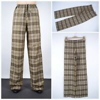 Women's BURBERRY London Nova Check Linen Pants Trousers Brown Size UK 6 USA 4