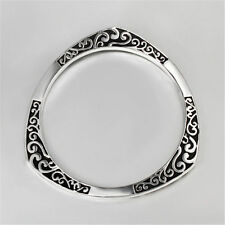 Vintage Style 925 Sterling Silver Plated Black Etched Bangle Bracelet Jewelry