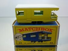 LESNEY MATCHBOX 23 TRAILER CARAVAN - YELLOW - GOOD CONDITION IN BOX