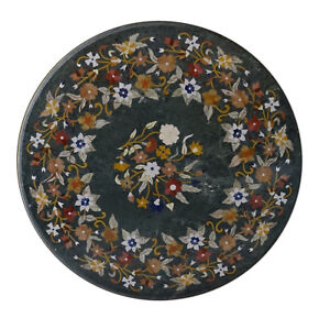 """42"""" green marble Table Top marquetry inlay floral handmade Home And Garden Decor"""
